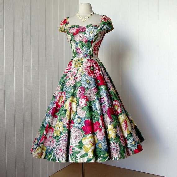vintage 1950's dress ...gorgeous ALIX OF MIAMI rhinestone studded exotic floral novelty print full skirt pin-up party dress