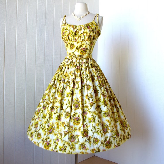 vintage 1950's dress ...gorgeous KERRYBROOKE floral cotton vavavoom shelf-bust shoulder ties full skirt pin-up party dress