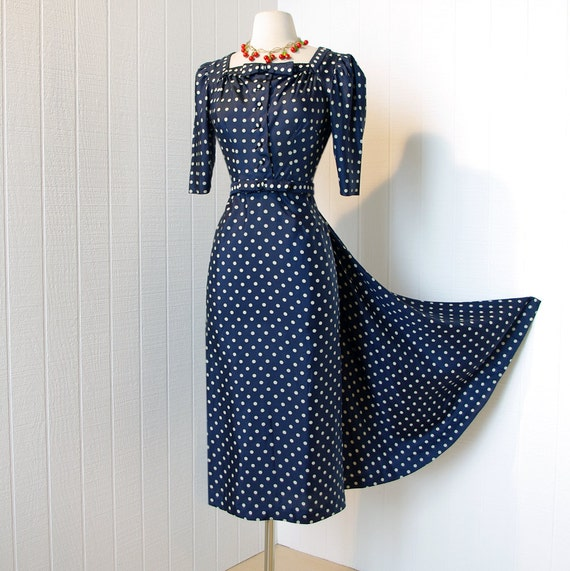 SALE 25 percent off with code vintage 1940's dress ...couture designer HATTIE CARNEGIE polkadot wwii iconic pin-up dress fishtail bustle