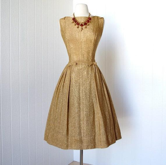 vintage 1950&-39-s dress ...shimmery R&amp-K ORIGINAL gold lame by traven7