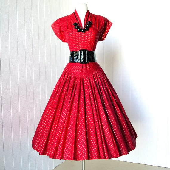 vintage 1940's dresss ...sizzlin' RED & GOLD POLKADOT forties crawford shoulders  full skirt new look pin-up swing cocktail dress