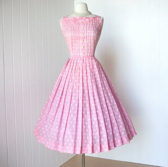 vintage 1950's dress ...sweet pink voile EMBROIDERED BUTTERFLY floral full skirt pin-tucked bodice pin-up party dress