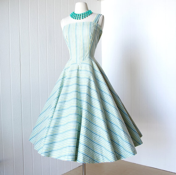 vintage 1950's dress ...best MR. MORT one shoulder asymmetrical crisp cotton striped full circle skirt pin-up party summer sun dress
