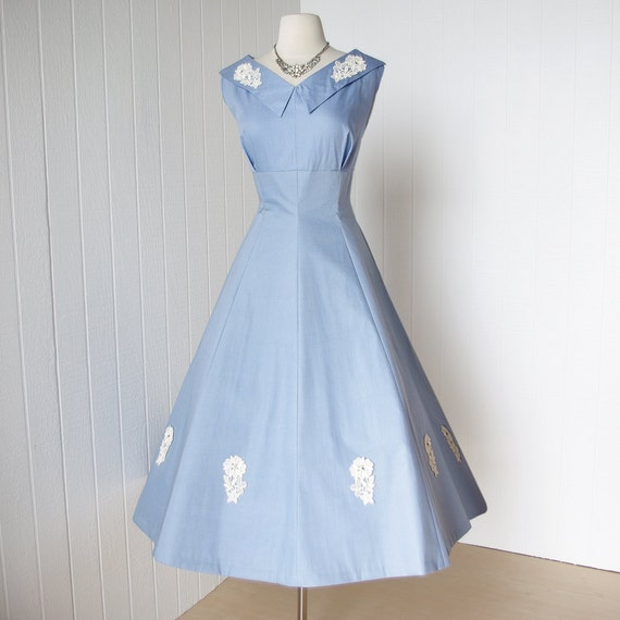 vintage 1950's dress ...never worn JO DEE sky blue cotton princess seams applique rhinestones full skirt pin-up party dress