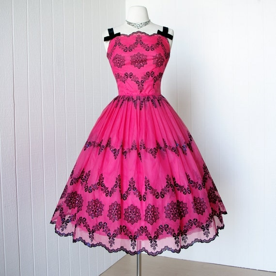 vintage 1950's dress ...exquisite FUSCIA CHIFFON with black flocked floral glitter scalloped full skirt pin-up cocktail dress