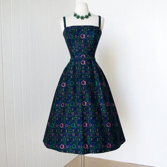 vintage 1950's dress ...gorgeous designer PAT PREMO mid-century woven tiki lounge fabric full skirt pin-up cocktail dress