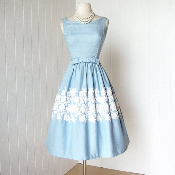 vintage 1960's dress ...classic EMMA DOMB blue linen embroidered crewel floral full skirt cocktail party dress with bow belt