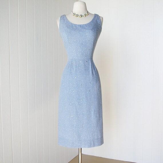 vintage 1950's dress ...fabulous JERRY GILDEN blue denim polkadot chambray rhinestone studded pin-up bombshell wiggle dress