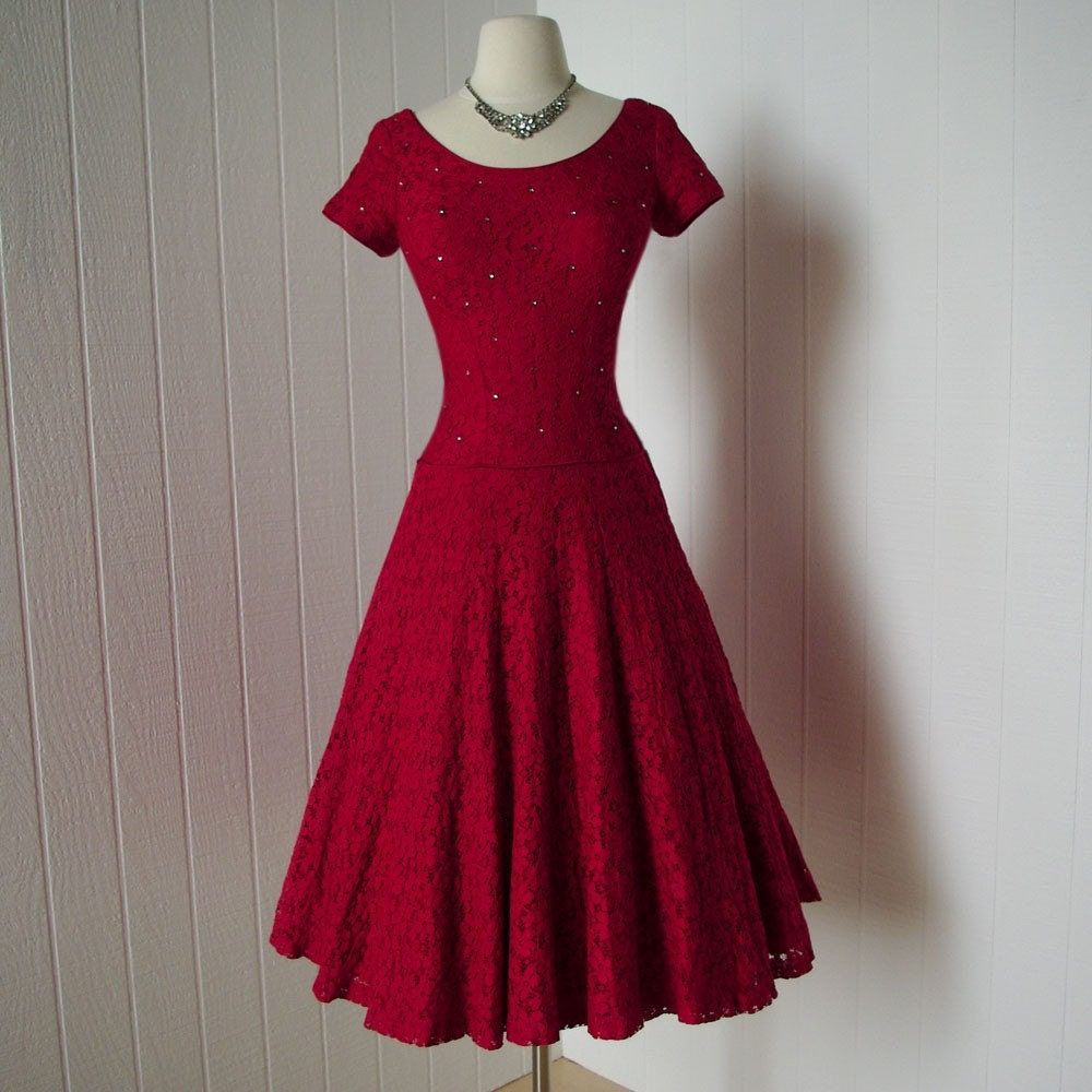 vintage 1940s dress ...gorgeous red lace dress by traven7 on Etsy