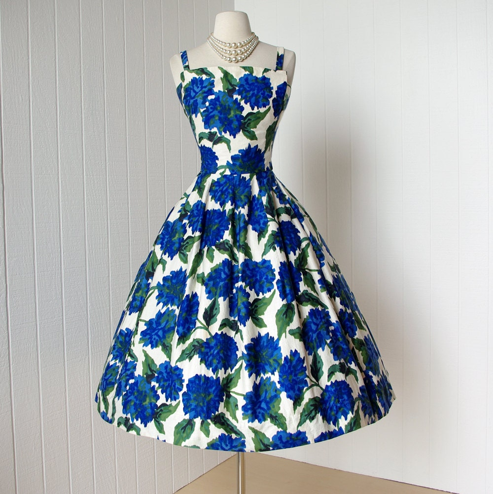 Vintage 1950 39 s dress gorgeous gigi young new york blue for 1950s wedding guest dresses