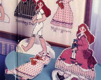 Cross Stitch Paper Dolls Pattern Cousin Maggie and Friends Japan Morocco Victorian 3 Dolls and Outfits or Picture Vintage Embroidery Pattern