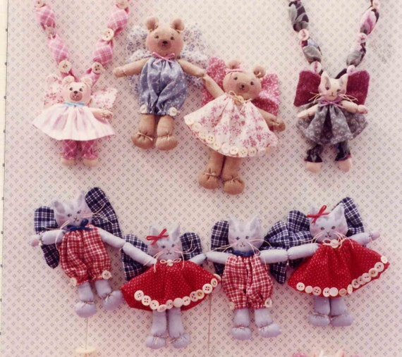 Vintage 1990 Super Sweet 3 and 5 Inch Fairy Bears and Kittens Doll Pattern for Garlands, Necklace, or Pocket Dolls--UNCUT