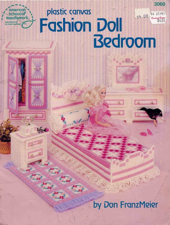 Vintage 1989 barbie pretty plastic canvas bedroom furniture Plastic bedroom furniture