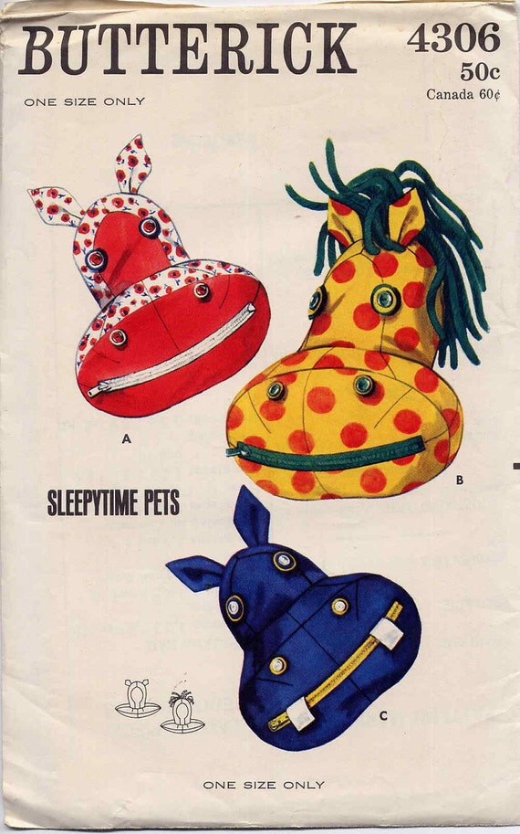 Animal Pillow That Turns Into Pajamas : Vintage 1960s Butterick Animal Face Pajama Bag Pillows with