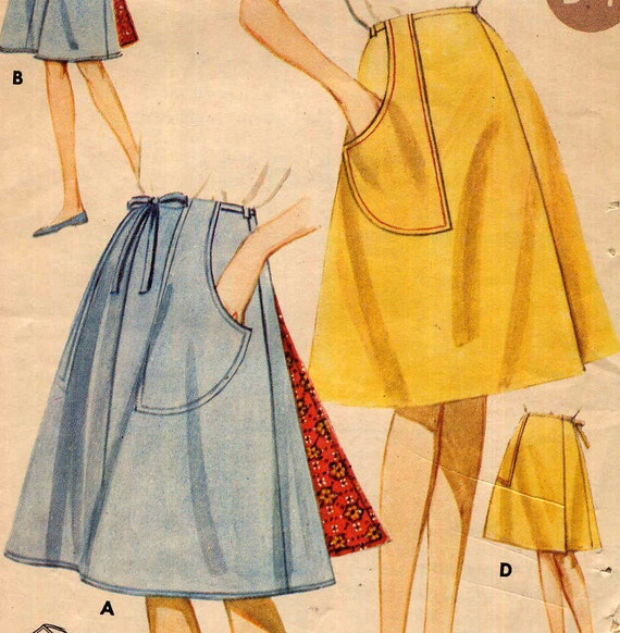 vintage 1960s a line front or back wrap skirt by