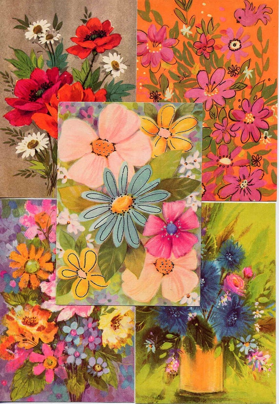 Bright Vintage Mod Flowers Colorful Floral Blank Note Cards--Unused Set of 5