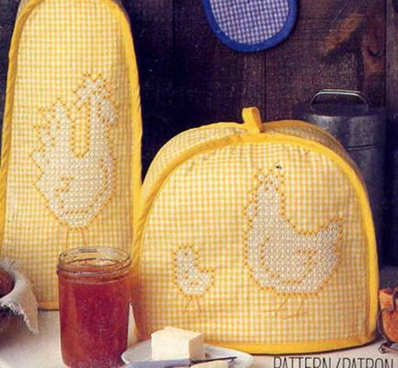 Vintage Butterick 313 Chicken Scratch Embroidered Gingham Kitchen Accessories Sewing Pattern--Rooster, Chicks, Pigs
