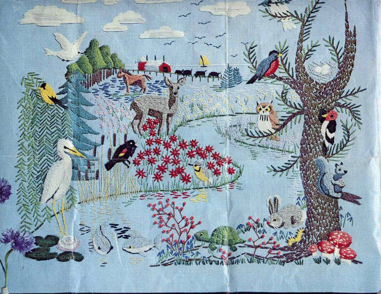 Vintage s american wildlife crewel embroidery kit by