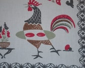 ON SALE Vintage BRODERIE Tablecloth Eames Era Red Kitchen Rooster Lays an Egg
