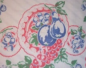 ON SALE Vintage Towel Fab Fruit Plates of Cherries Grapes & More