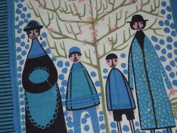 Vintage Textile Eames Era Swedish Family Goes For a Walk Signed