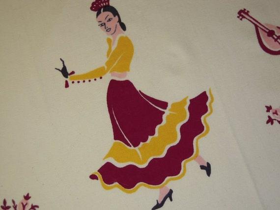 ON SALE Vintage Towel Sexy Senorita Dances the Flamenco
