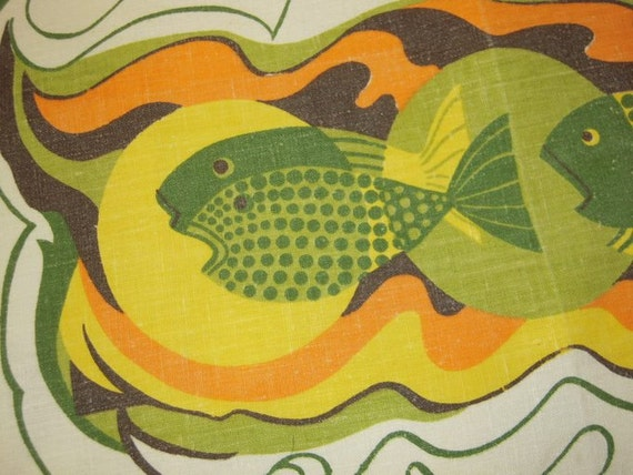 Vintage Towel Psychedelic Groovy Fish