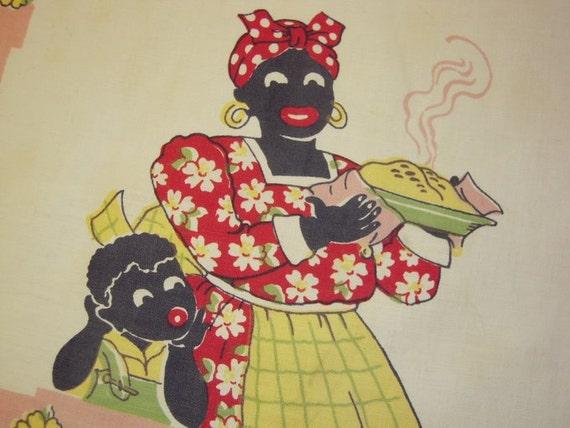 Vintage BLACK AMERICANA Towel Mammy & Child w Steaming Pie