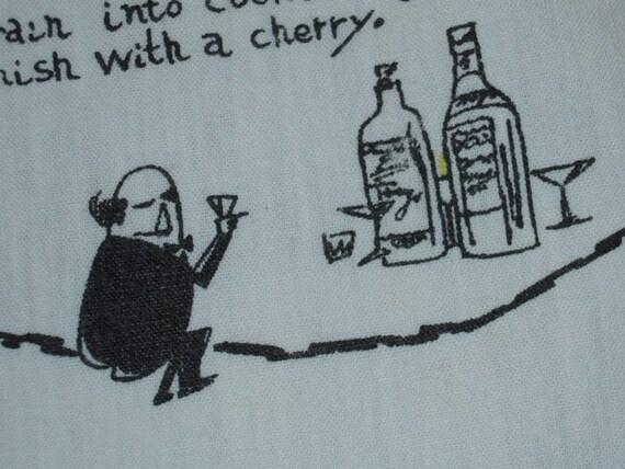 ON SALE Vintage Cocktail Runner or Towel Cartoon Bartender Mixes Manhattans