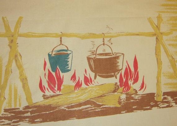 Vintage CHP Tablecloth Cowboy Campfire Gather Round the Chuckwagon