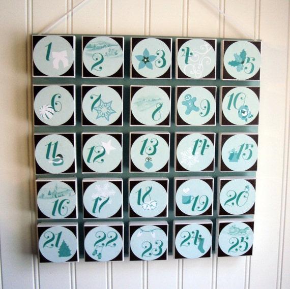 Advent Calendar - Teal and Brown - Christmas Countdown callendar reusable eco friendly green vintage feel