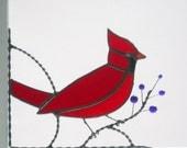 Bird / Cardinal / stained glss corner design / bottom left