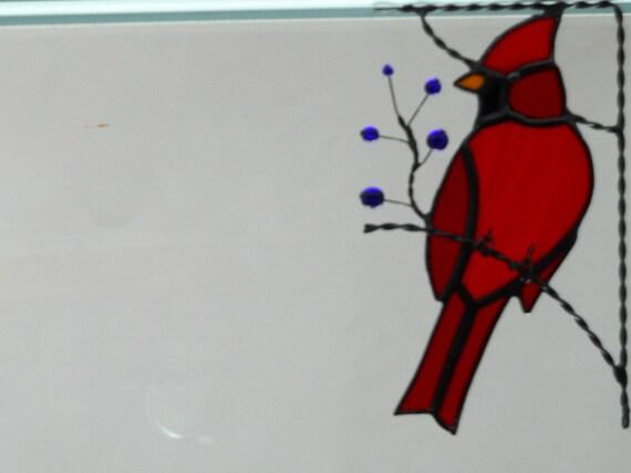 cardinal bird / stained glass window corner/ top right