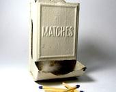 Vintage chippy cream tin match holder
