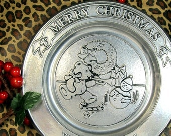 CIJ Merry Christmas pewter plate from Wilton 1986