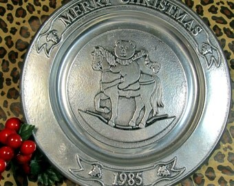 CIJ Wilton Christmas Plate 1985 Pewter Rocking Horse and Bear