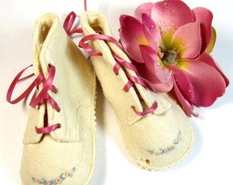 Antique felt stiched baby shoes