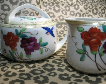 Nippon Hand painted Sugar and Creamer Set Bluebird REDUCED PRICE