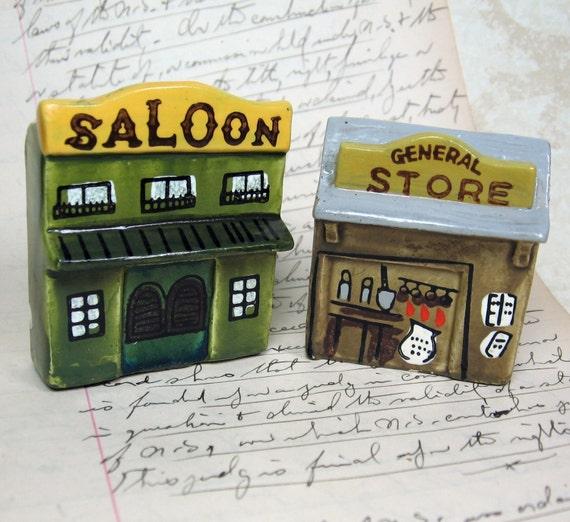 Enesco miniature ceramic Western buildings REDUCED PRICE