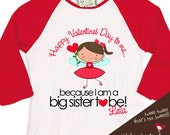 Valentine's Day Big Sister or big sister to Be Valentine's Day Fairy  RED length raglan sleeve shirt