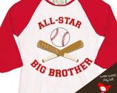 big brother shirt - baseball all-star big brother on sport  raglan shirt
