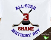 HOCKEY Birthday Boy shirt - ALL STAR hockey, sports themed birthday party plain t-shirt
