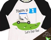 golf Birthday Boy shirt - PAR-TEE golf, sports themed birthday party  raglan t-shirt