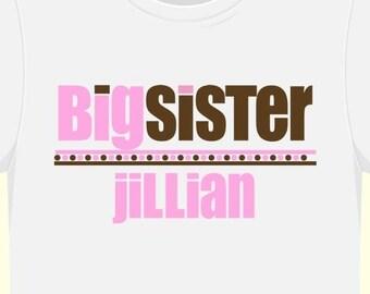 Big sister shirt- pink and brown dots personalized big sister  t shirt