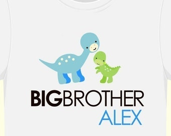 Big brother shirt- simple dinosaur big or little brother or sister tshirt