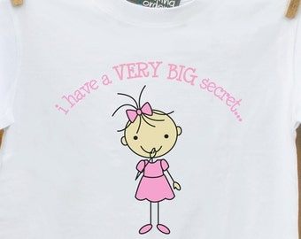 NEW-  STICK FIGURE I have a secret - I'm going to be a big sister pregnancy announcement tshirt