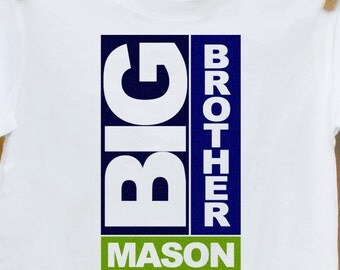 Big brother shirt-personalized block big brother t-shirt