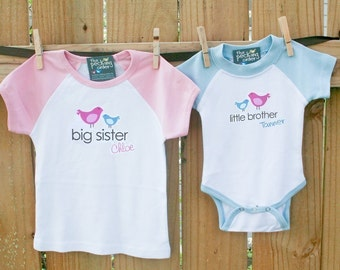 big sister shirt, little brother - adorable raglan birdie matching sibling set for any big/little combination