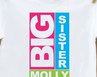 Big sister shirt-personalized block big sister tshirt