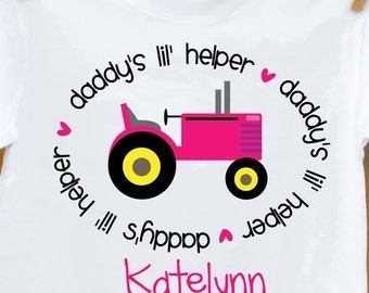 childrens personalized shirt-tractor shirt girl daddy's little helper so sweet